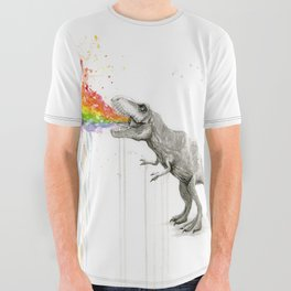 T-Rex Dinosaur Rainbow Puke Taste the Rainbow Watercolor All Over Graphic Tee