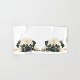 Nap Pug, Dog illustration original painting print Hand & Bath Towel