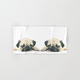 Nap Pug, Dog illustration original painting print Hand & Bath Towel