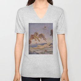 Dream Caused by the Flight of a Bee Around a Pomegranate a Second Before Awakening -Salvador Dali Unisex V-Neck