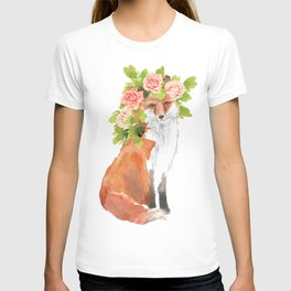 fox with flower crown T-shirt
