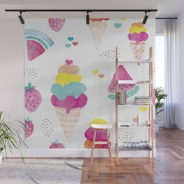 Sweet candy summer water melon ice cream and strawberry watercolor Wall Mural