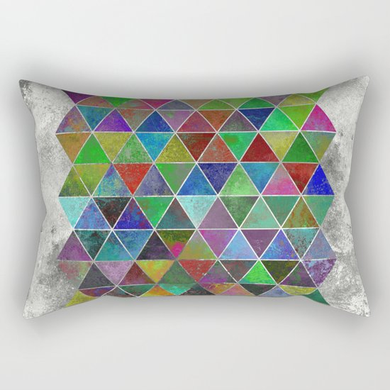 Textured Triangles - Abstract, textured, geometric, painting Rectangular Pillow