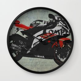 Miracle do not come in tubes,  motorcycle abstract collage, gift for man Wall Clock