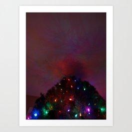 Northern Lights Xmas Art Print