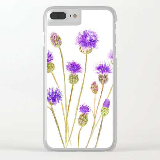 purple thorny wildflower Clear iPhone Case