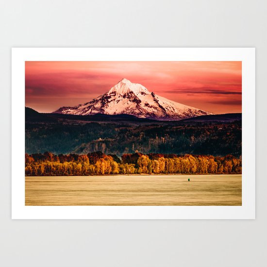 Sunset Snowy Mountain - Mt. Hood Art Print