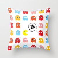 pac man Throw Pillows featuring Pac-Man Trapped by Psocy Shop