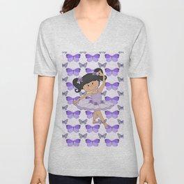 Purple Butterflies and Ballerina Unisex V-Neck