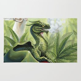 Smoking Dragon in Cannabis Leaves Rug