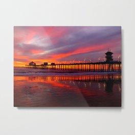 Sunset At The Pier * Huntington Beach, California Metal Print
