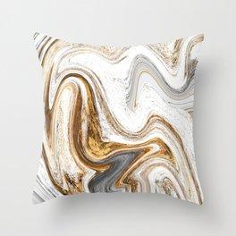 Wet Swirled Paint in Neutrals Throw Pillow