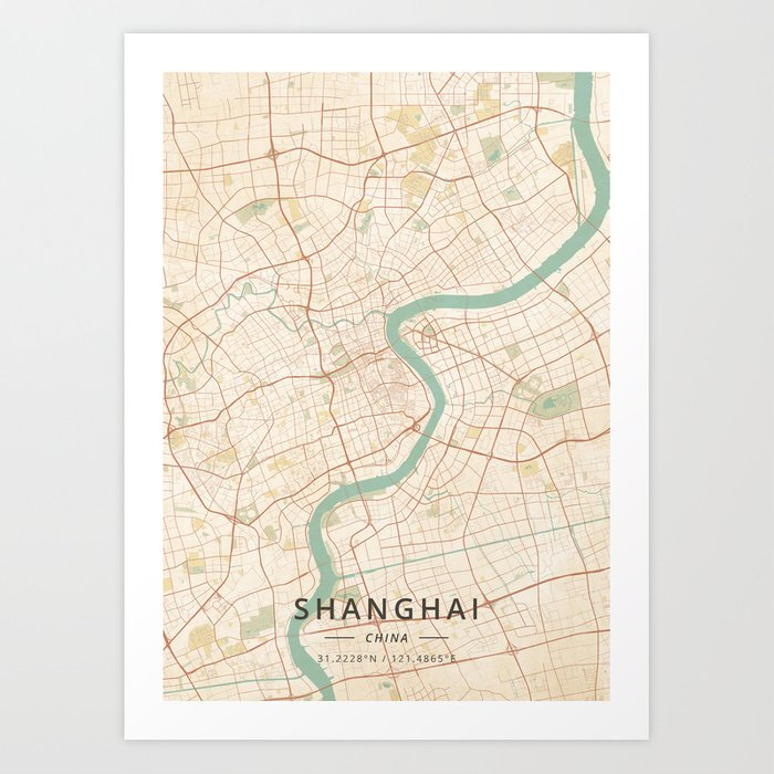 Shanghai, China - Vintage Map Kunstdrucke
