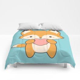 Kawaii Cute Fox With Hearts Comforters