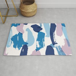 Blue and pink brushstrokes pattern Rug