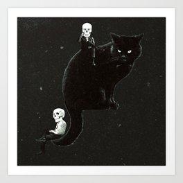 Black Cat & Skull People Art Print