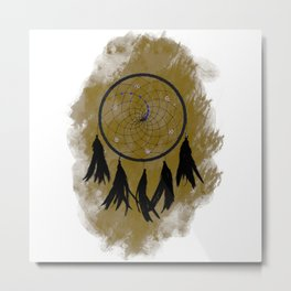 Dreamcatcher crow: Sand background Metal Print