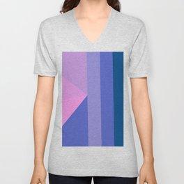 Geometrical modern pastel pink lilac blue stripes triangles Unisex V-Neck