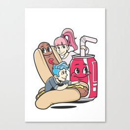 Hotdog-Soda mixer illustration Canvas Print
