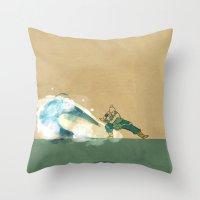 airbender Throw Pillows featuring Avatar Korra by daniel