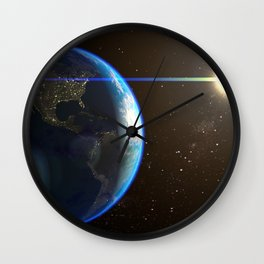 Night Lighted Earth from space Wall Clock
