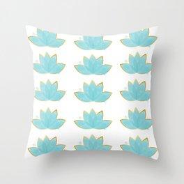 Floral Lotus Watercolor Seafoam Blue & Faux Gold  Throw Pillow