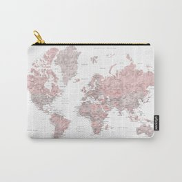 Dusty pink & grey watercolor world map cropped Carry-All Pouch