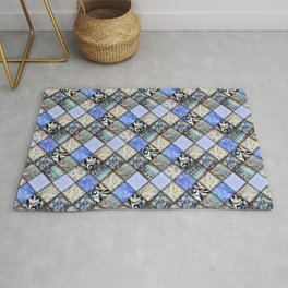 Faux Patchwork Quilting - Blues Rug