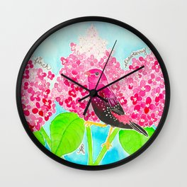 Strawberry Finch & Hydrangeas Wall Clock