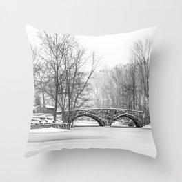 Stone Bridge Clove Lake Park Throw Pillow