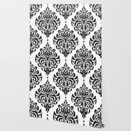 Black and White Damask Wallpaper