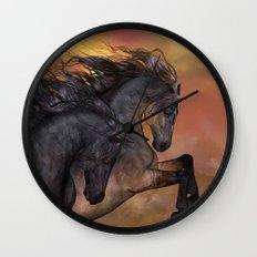 HORSES - On sugar mountain Wall Clock