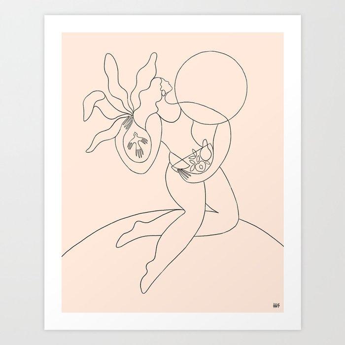 apricot moon flight Art Print