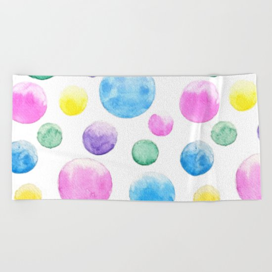 cheerful colorful bubbles Beach Towel
