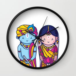 Cute Radha Krishna Wall Clock