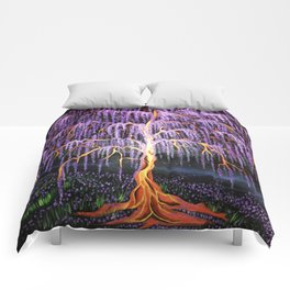 Electric Wisteria Willow Tree Comforters