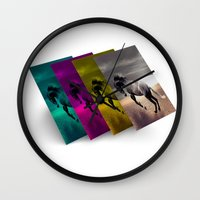 popart Wall Clocks featuring PopArt HORSE by MehrFarbeimLeben