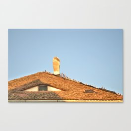 Old Roof with  A Chimney and A Triangular Attic Window Canvas Print