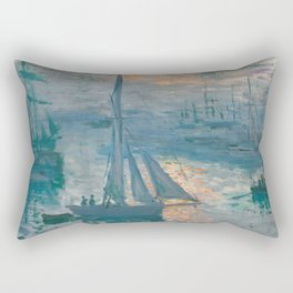 Sunrise Marine by Claude Monet, 1873 Rectangular Pillow