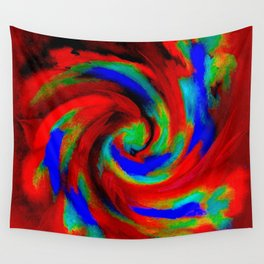 Red Blue Green Fireball Sky Explosion Wall Tapestry