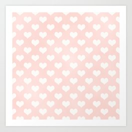 Pink Coral Love Hearts Art Print