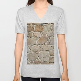 old quarry stone wall Unisex V-Neck