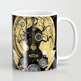 Retro geometric music themed design with guitar tree Coffee Mug