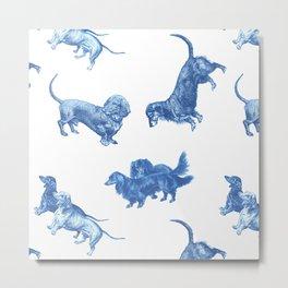 Dachshund Dogs & French Porcalain Metal Print