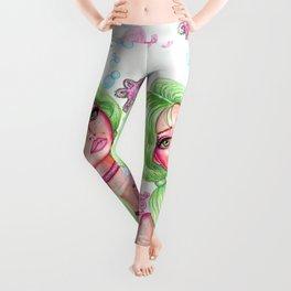 Seaweed and Friends Girl with Green Hair and Cute Baby Octopus Fantasy Art Mermaid Leggings