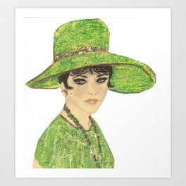 Lady In Green Art Print