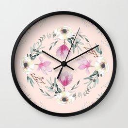 Floral Square Rosé Wall Clock
