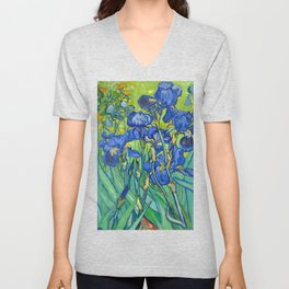 Vincent Van Gogh Irises Painting Detail Unisex V-Neck
