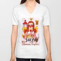 mercedes V-neck T-shirts featuring Moonrise Kingdom Suzy by Ricardo Cavolo