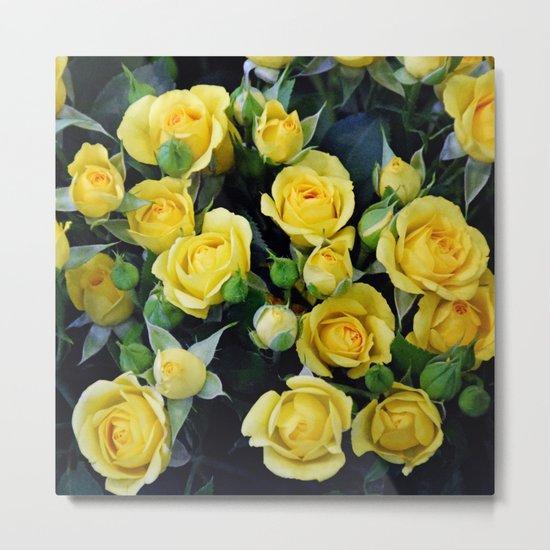 Bright Yellow Roses Metal Print